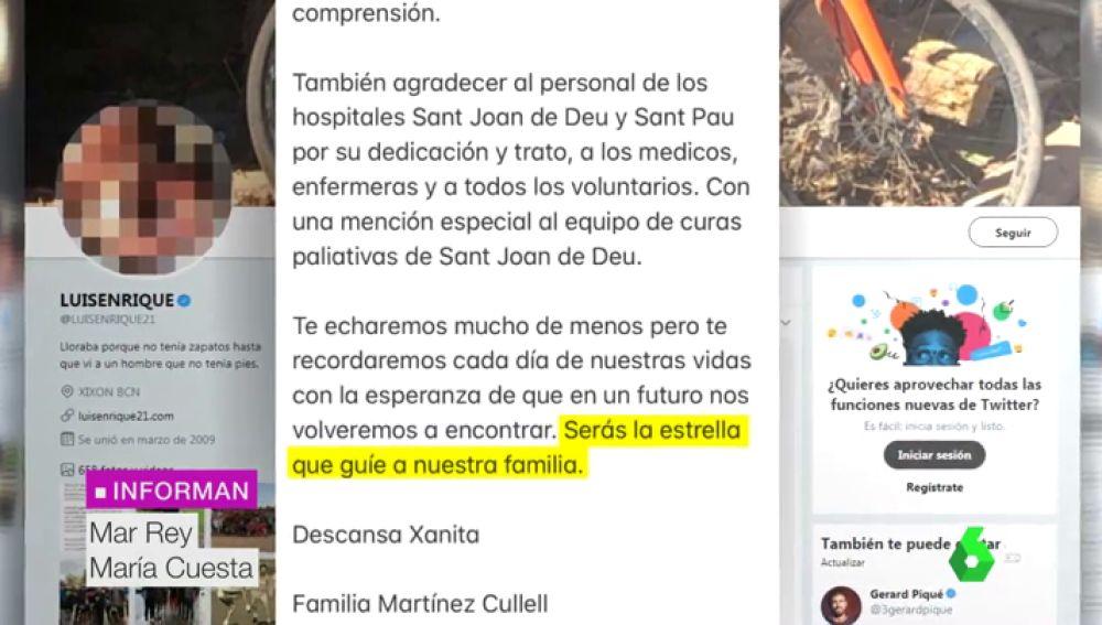 """El emotivo adiós de Luis Enrique a su hija Xana: """"Serás la estrella que guíe a nuestra familia"""""""