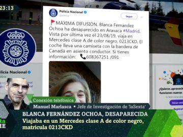 Imagen de el tuit difundido por la Policía por la desaparición de Blanca Fernández Ochoa
