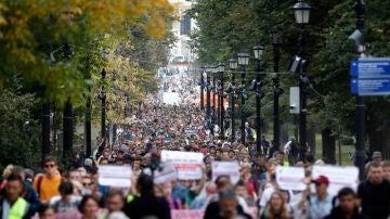 Protesta no autorizada en el centro de Moscú, Rusia