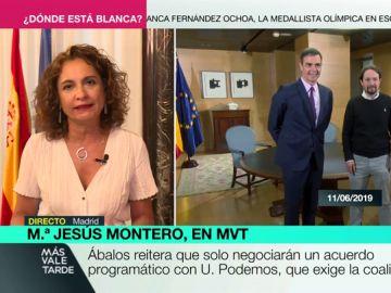 """Montero reitera la negativa a un Gobierno de coalición: """"Es normal que Sáchez no confíe en poner políticas en manos de quien no las valora"""""""