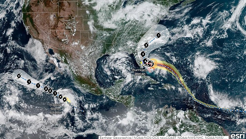 Imagen que muestra la trayectoria del huracán Dorian