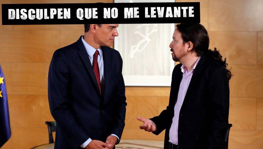 Pedro Sánchez con Pablo Iglesias, en la ronda de consultas de julio.