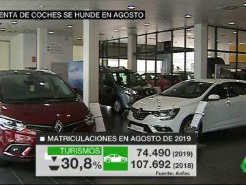La venta de coches se hunde en agosto