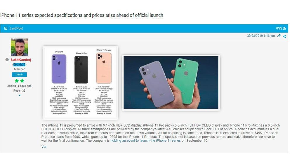 Especificaciones iPhone 11