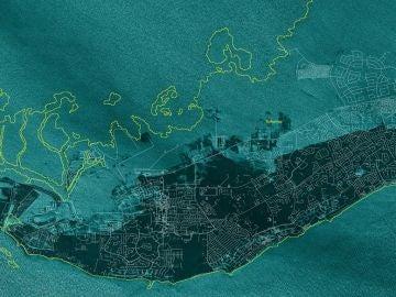 Gran Bahama desde el espacio, tras el paso del huracán Dorian