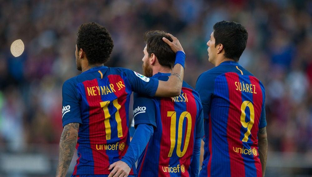 Neymar, Leo Messi y Luis Suárez, en el FC Barcelona