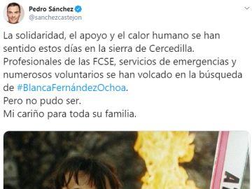 El tuit de Pedro Sánchez recordando a Blanca Fernández Ochoa