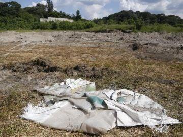 Fotografía de la zona donde fue encontrada una fosa con al menos 44 cadáveres