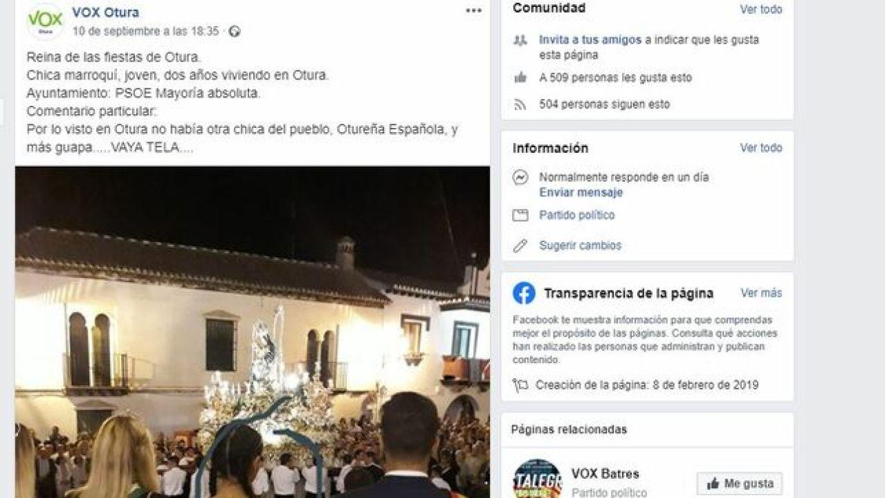 """Polémica en Otura por el comentario de Vox contra la Reina de las Fiestas: """"¿No había otra chica española y más guapa?"""""""