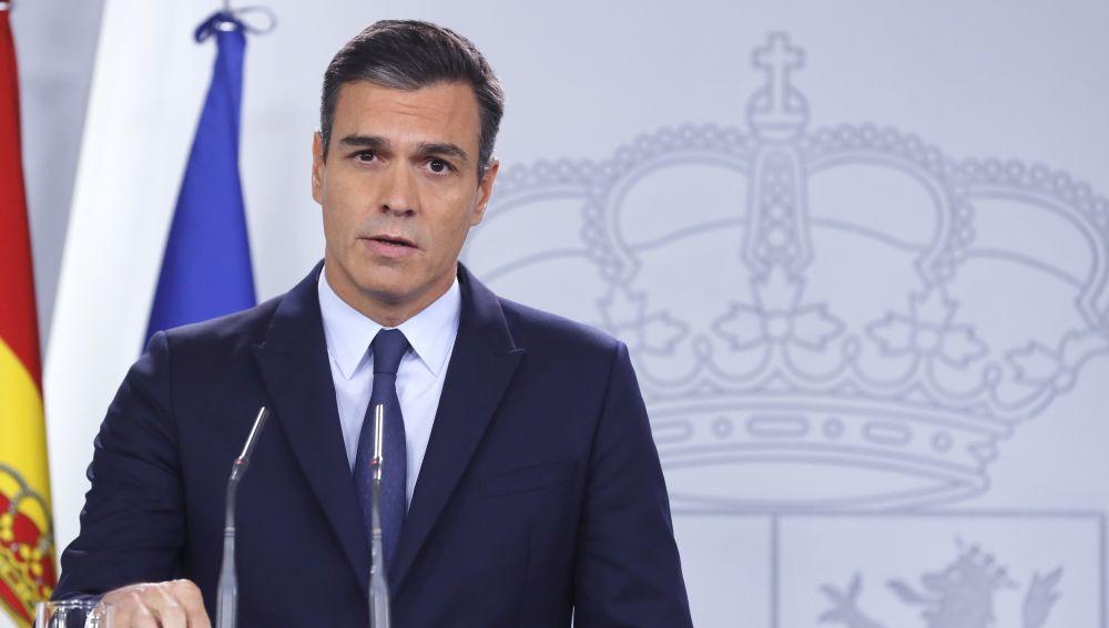 El presidente del Gobierno en funciones, Pedro Sánchez, durante la rueda de prensa