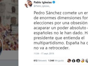 El tuit que ha publicado el líder de Podemos, Pablo Iglesias