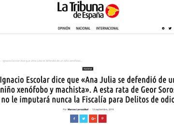 Artículo de La Tribuna de España sobre las declaraciones falsas de Ignacio Escolar sobre Ana Julia Quezada.
