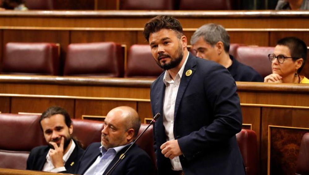 El portavoz de ERC, Gabriel Rufián, en el Congreso