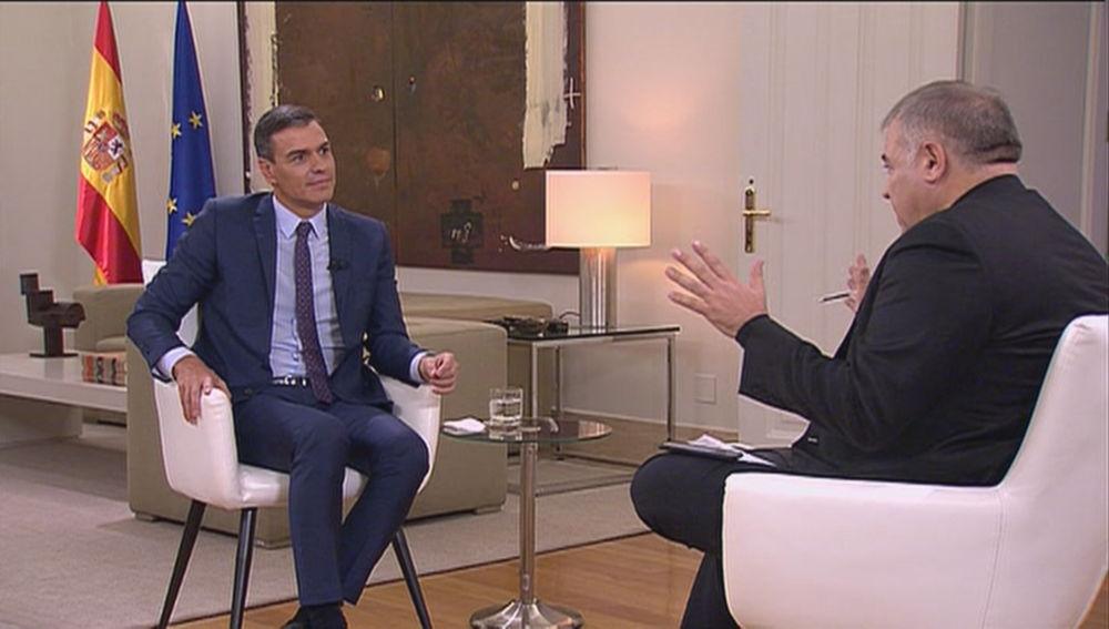 Pedro Sánchez y Antonio García Ferreras en Moncloa