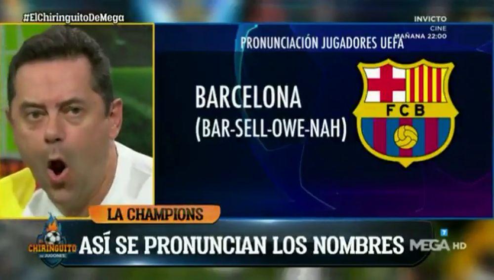 """""""El Barsellowna"""": la tronchante pronunciación de Tomás Roncero de Barcelona 'a lo UEFA'"""