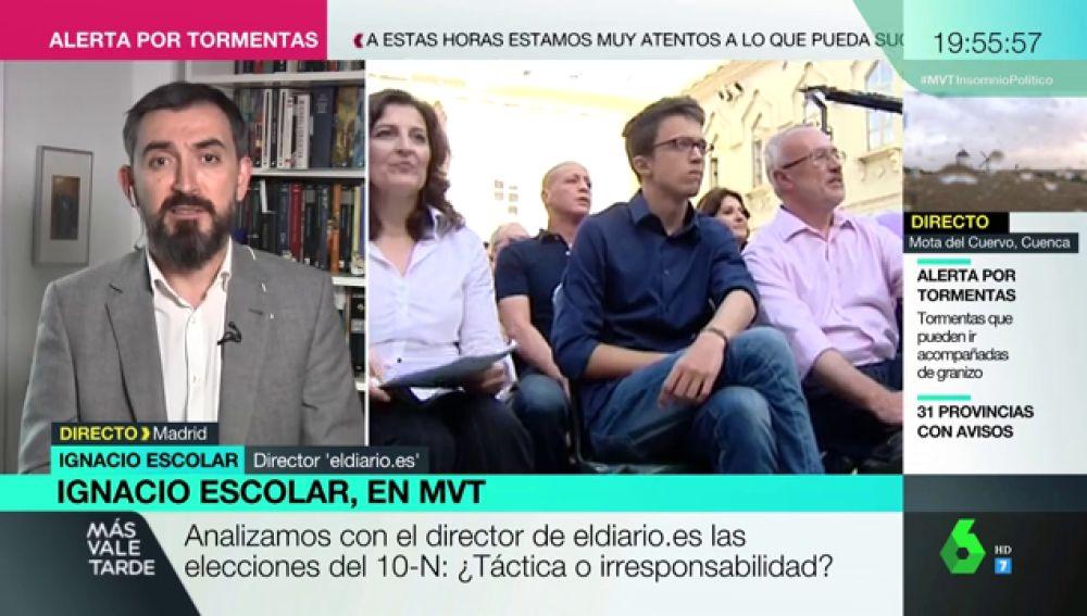 """Ignacio Escolar: """"Apuesto por que Errejón sí se va a presentar a las elecciones"""""""