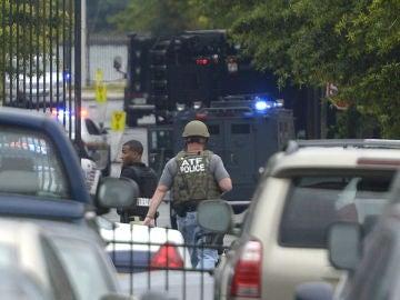 Dispositivo policial en una imagen de archivo