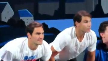 Federer y Nadal, en un partido de tenis