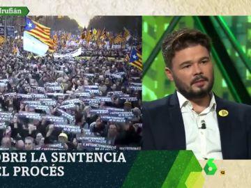 """Rufián: """"Que te humillen no es que no te den un ministerio, es que te metan en la cárcel por tus ideas"""""""
