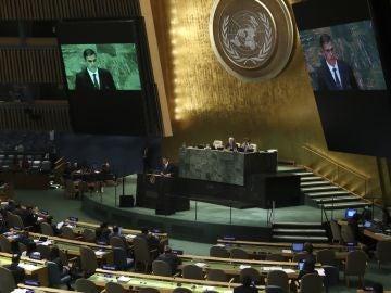 El presidente del Gobierno, Pedro Sánchez, durante una intervención ante la Asamblea General de Naciones Unidas, en septiembre de 2018