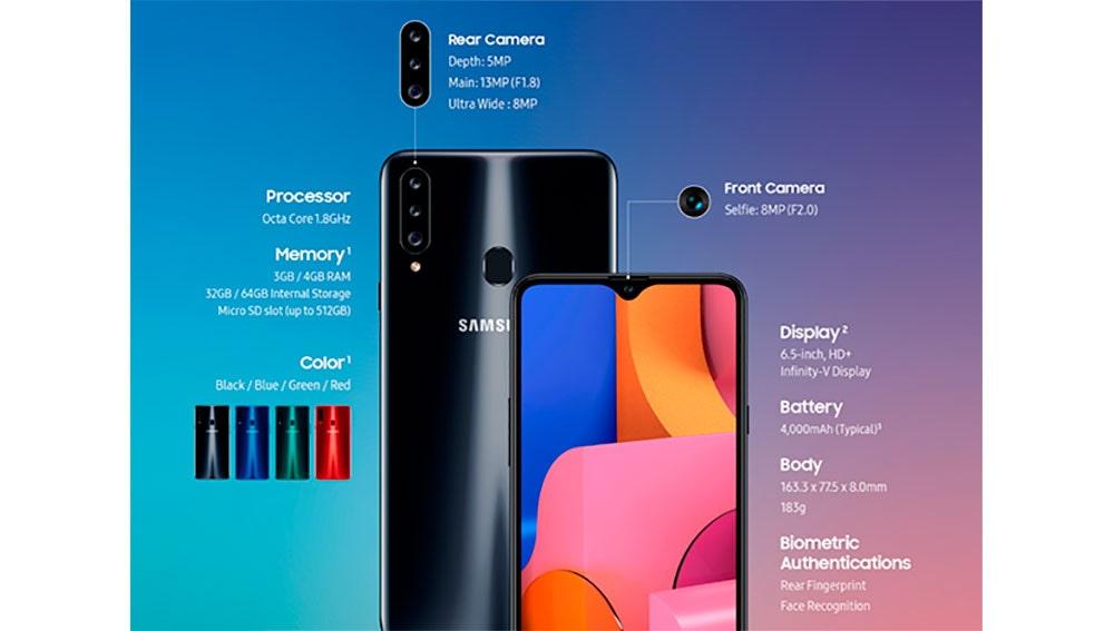 Características del Samsung Galaxy A20s