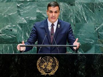 El presidente del Gobierno en funciones, Pedro Sánchez, en la ONU