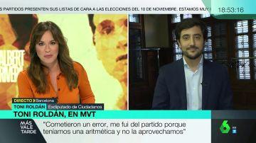 """Toni Roldán, tras el desbloqueo de Rivera al PSOE: """"No voy a volver. Les deseo mucha suerte al igual que a los demás partidos"""""""