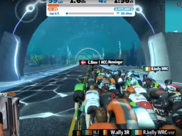 Cameron Jeffers, en partida virtual de Cycling eRacing