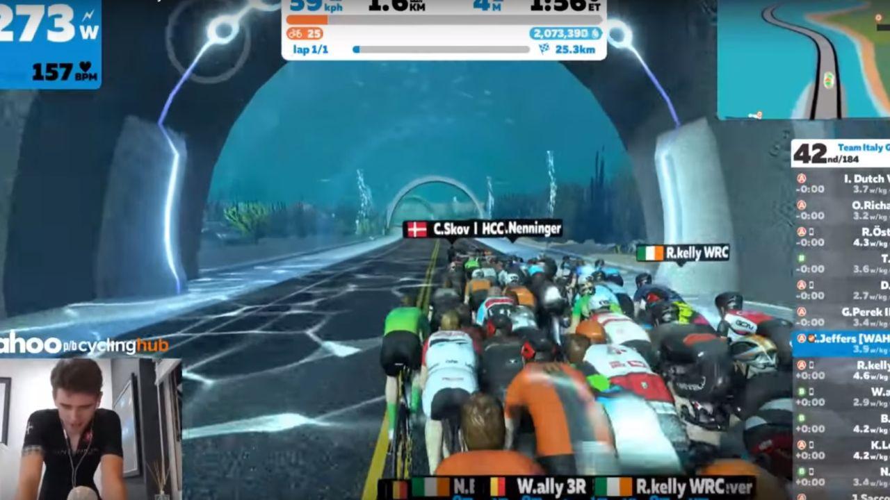 Cameron Jeffers, en partida virtual de Cycling eRacing
