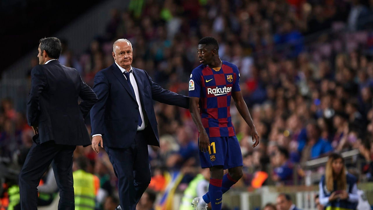 Dembélé, tras ser expulsado contra el Sevilla