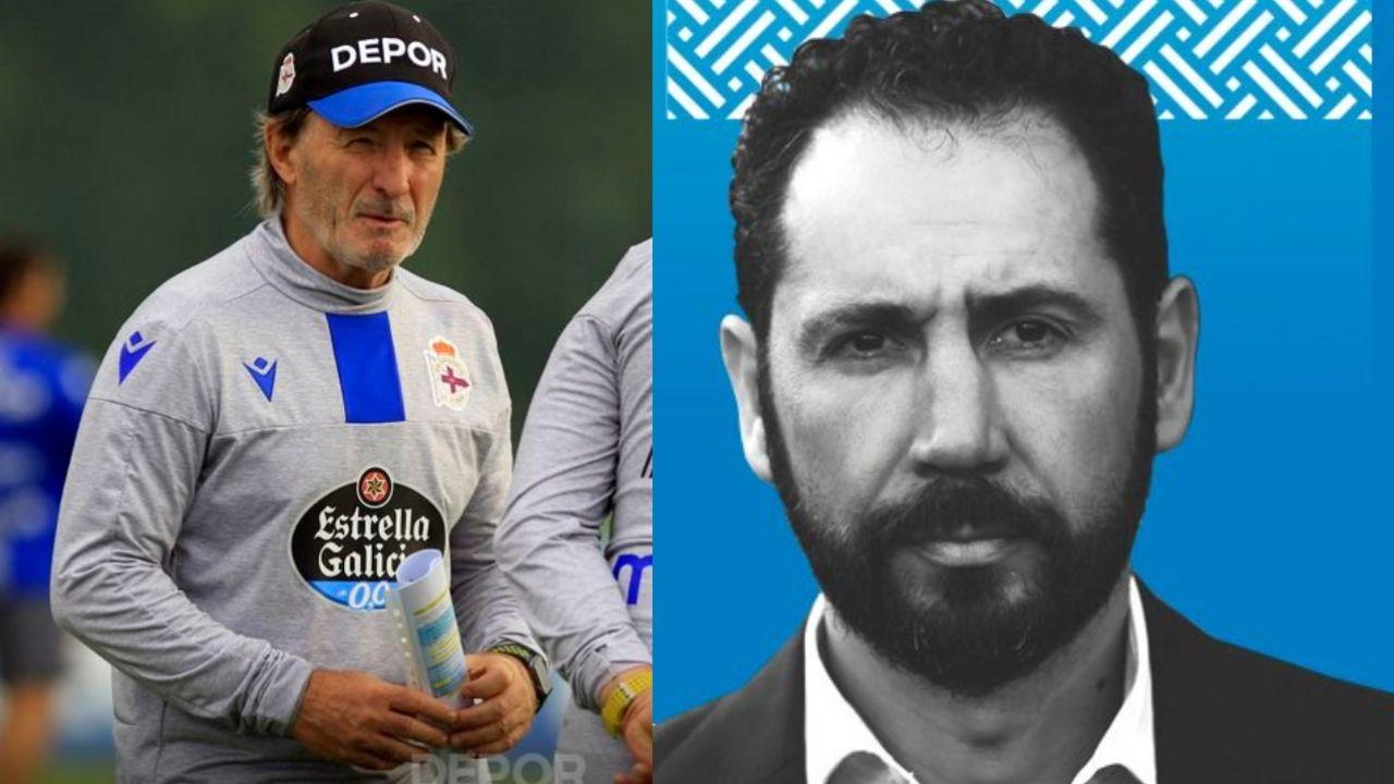 Juan Antonio Anquela, exentrenador del Deportivo; y Pablo Machín, nuevo entrenador del Espanyol.