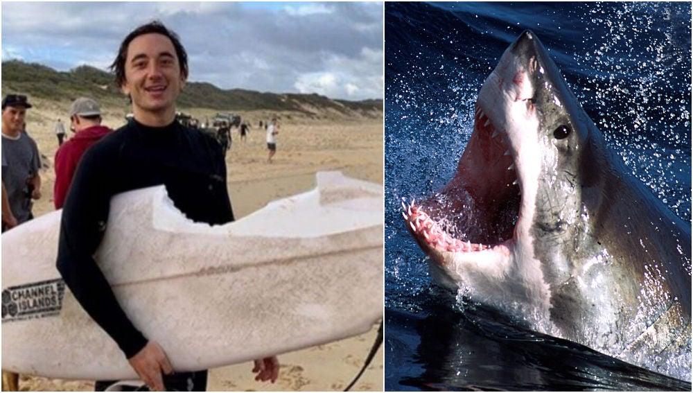 Mike Bruton sobrevive al ataque de un tiburón