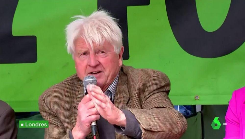 """El padre de Boris Johnson, estrella de las protestas por la emergencia climática en Londres: """"El capitalismo causó el problema"""""""