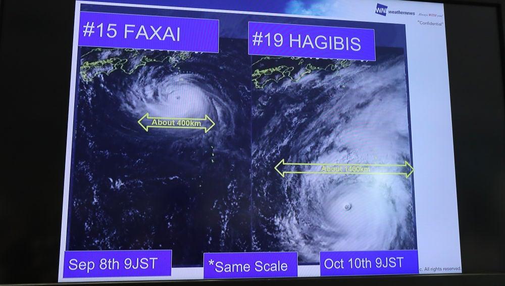 El tifón Hagibis, a la derecha, comparado con el Faxai