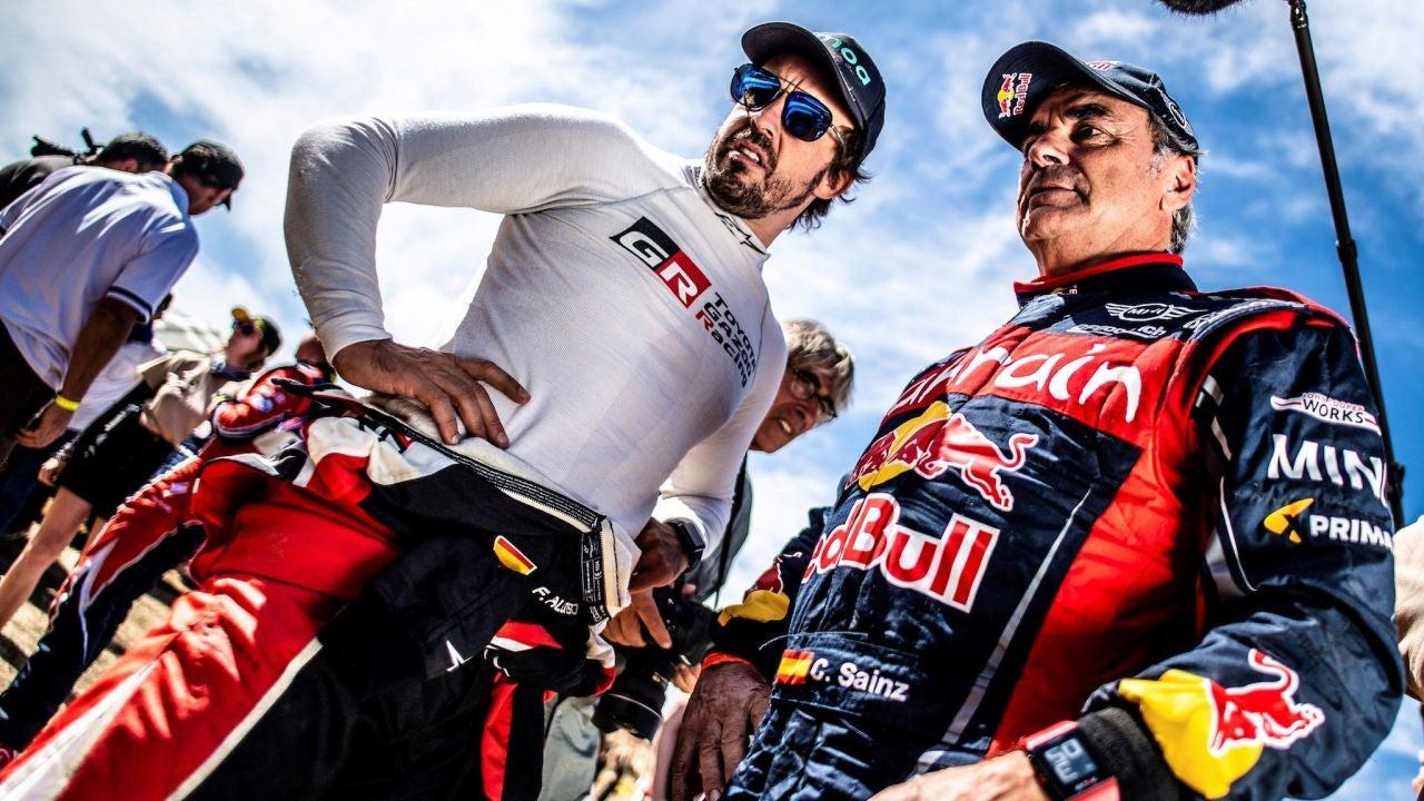 Fernando Alonso y Carlos Sainz, en el Rally de Marruecos