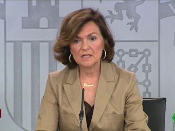Carmen Calvo tras el Consejo de Ministros