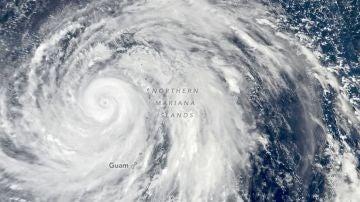 Una imagen de tifón Hagibis