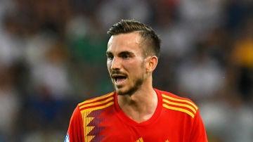 Fabián, en un partido con España