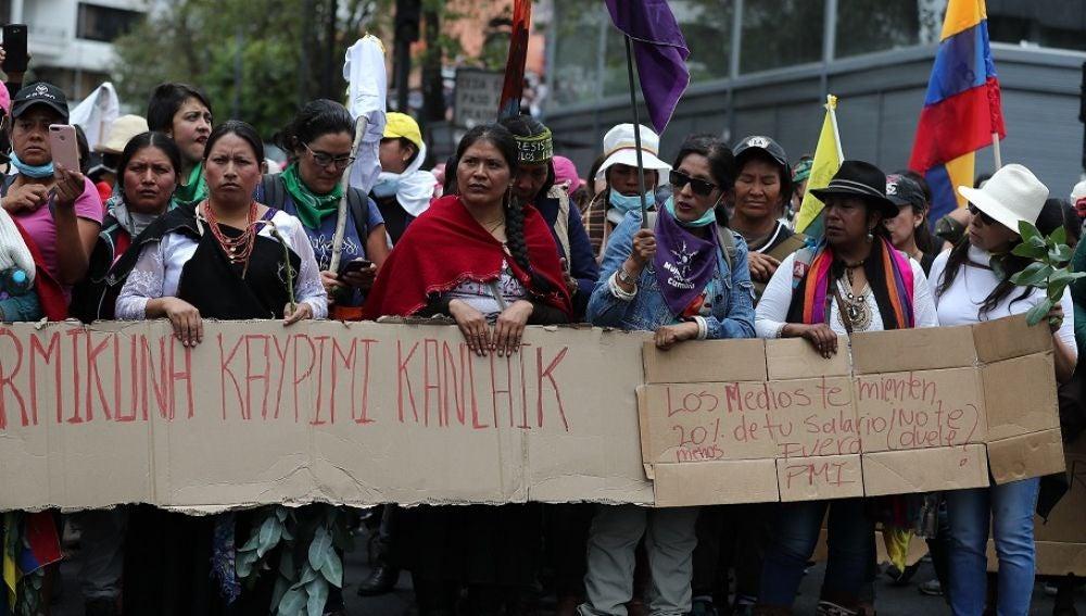 Imagen de la manifestación del movimiento indígena en Ecuador