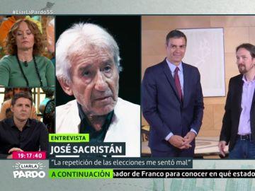 """José Sacristán, sobre la repetición electoral: """"Pablo Iglesias se preocupó demasiado de saber a cuánto estaba el kilo de ministerios"""""""