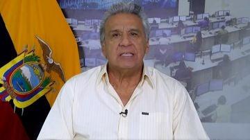 Lenín Moreno, presidente de Ecuador, durante la retransmisión de un comunicado oficial.