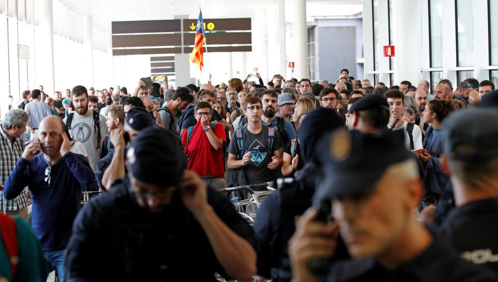 Manifestación en el Aeropuerto de El Prat