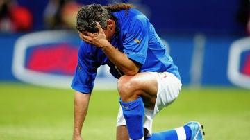 Roberto Baggio, en un amistoso celebrado entre Italia y España en Génova (2004)