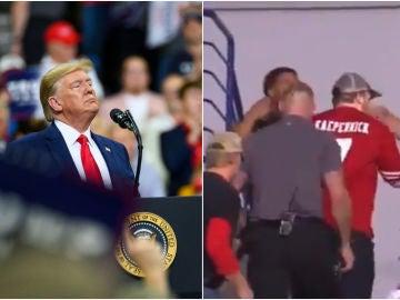 Echan a un hombre con la camiseta de Kaepernick de un mitin de Trump