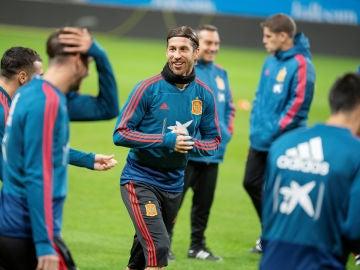 Sergio Ramos, durante un entrenamiento de la Selección