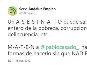 La cuenta del Servicio Andaluz de Empleo, tras el hackeo