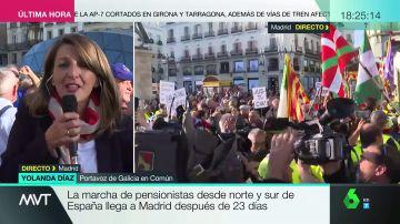 """Yolanda Díaz: """"Sánchez quiere reformar las pensiones con PP y Ciudadanos, que quieren privatizarlas"""""""