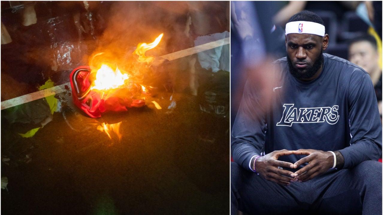 Protestantes queman camisetas de LeBron James en Hong Kong