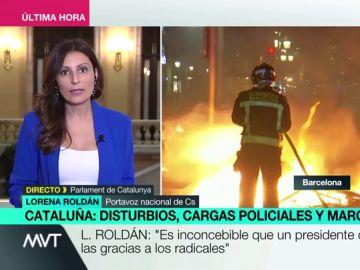 """Lorena Roldán: """"Hay que parar el caos que siembran los radicales separatistas y a los que Torra da las gracias"""""""
