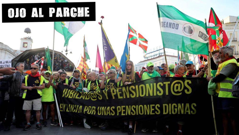 Pensionistas de toda España protestan en Madrid por unas pensiones dignas.